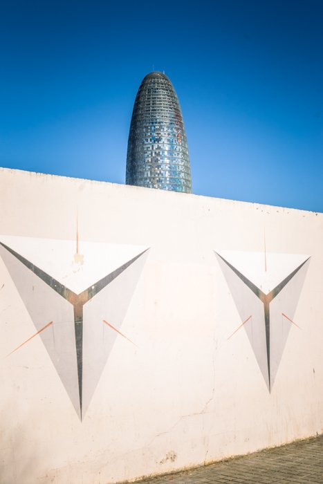 The Glories Tower in Barcelona, a bullet-shaped 44, high tower