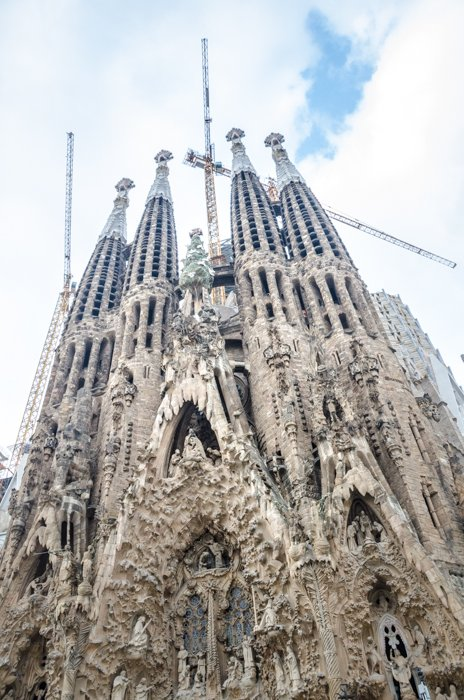 The Sagrada Familia in Barcelona - one of the masterpieces of the modernist architect Antoni Gaudí.