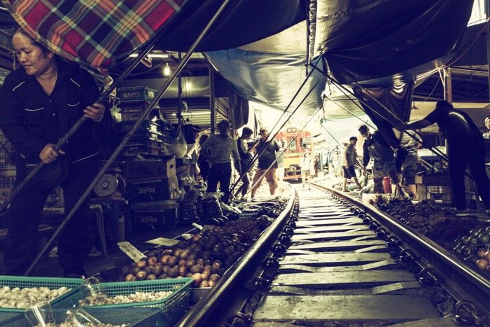 The interior of the famous train market, not too far from Bangkok