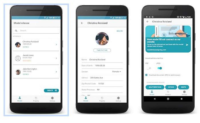 A screenshot of Model Release Pro interface - best model release apps