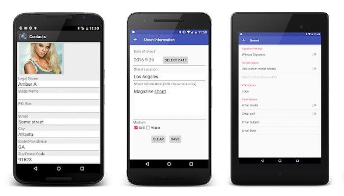 A screenshot of Model Release X interface - best model release apps