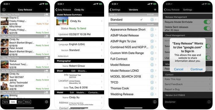 A screenshot of Easy Releases interface - best model release apps