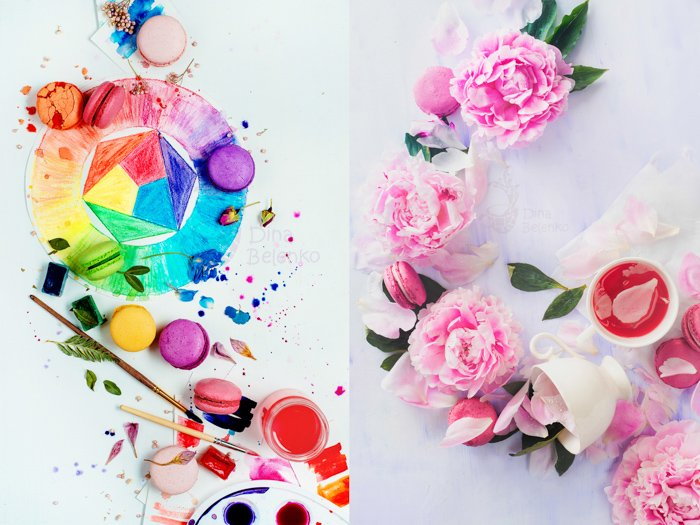 A bright and airy diptych photo featuring watercolor paints and pink roses