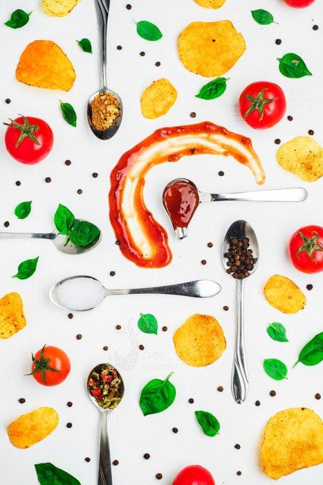 Creative food themed still life composition