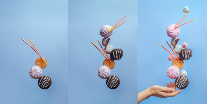 A food themed still life composition triptych featuring balancing cookies