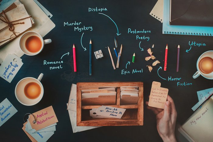 A creative flat lay featuring stationary, coffee cups and notebooks - examples of using text in photography