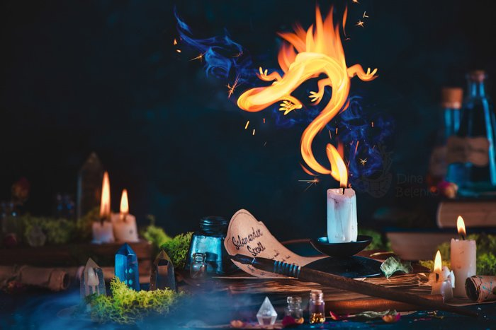 A magical still life set up - examples of using text in photography