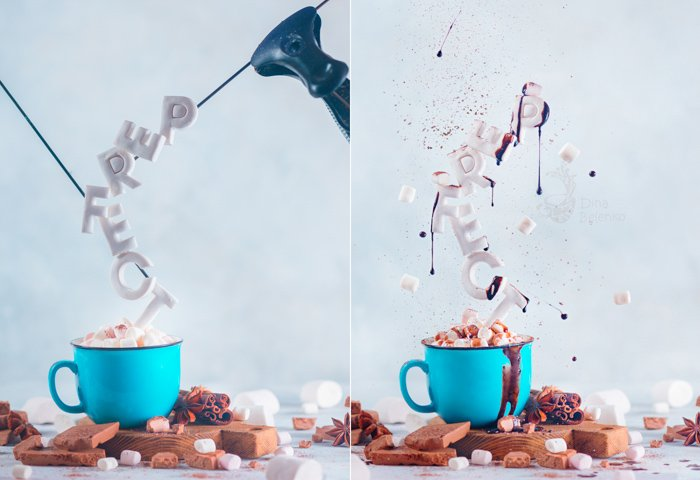 A diptych showing the set up for a creative still life using food typography - examples of typography