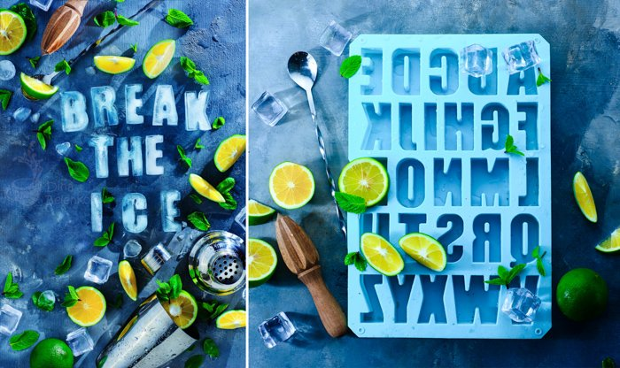 A creative still life diptych featuring typography made from ice - examples of using text in photography