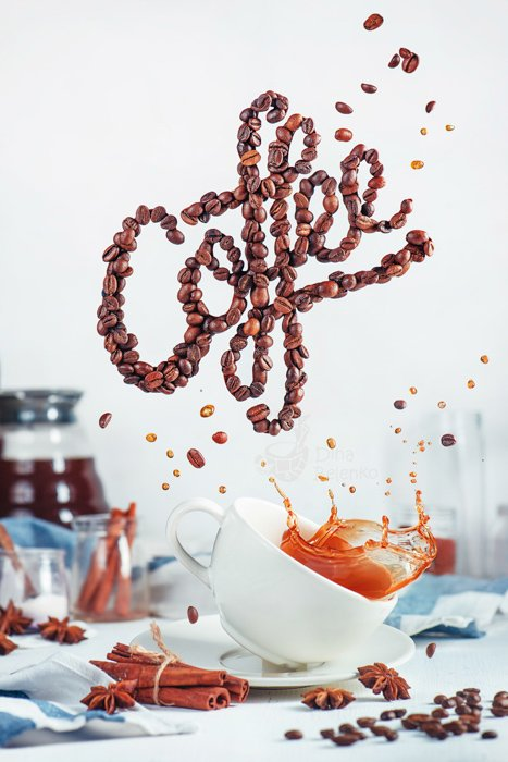 A creative still life using food typography made from coffee beans spelling 'coffee' - examples of typography