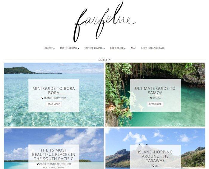 A screenshot of Farfelue traveler blog