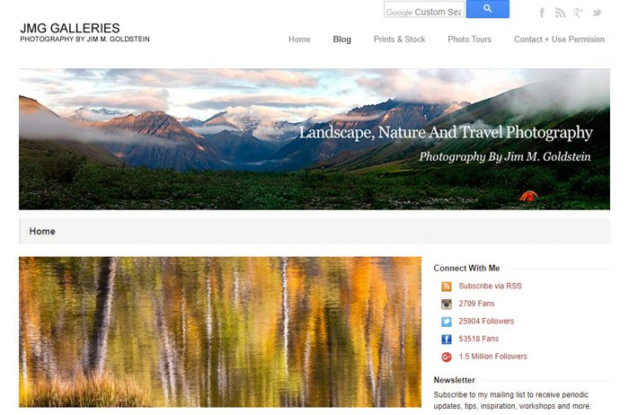 A screenshot of the Landscape, Nature and Travel homepage