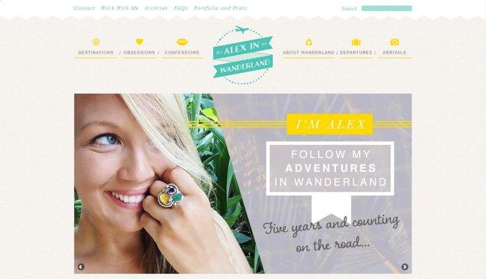 screenshot of the alex in wanderland homepage