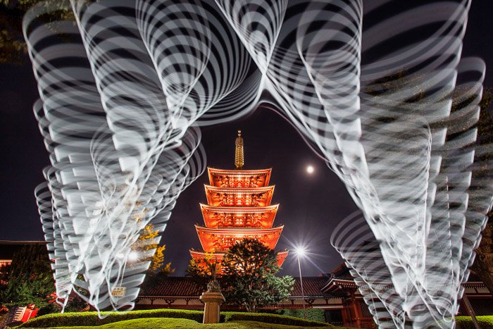A photo of the five story pagoda at Sensoji templeproduced using light painting.