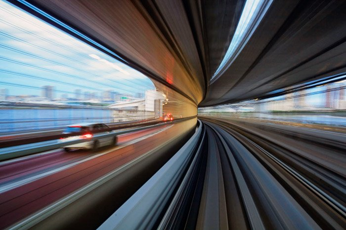A motion blur photo on the train to Odaiba - tokyo photography locations