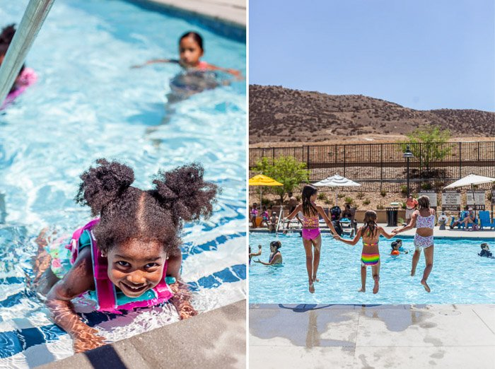 Diptych portrait of children swimming in an outdoor pool - fun birthday party photography ideas