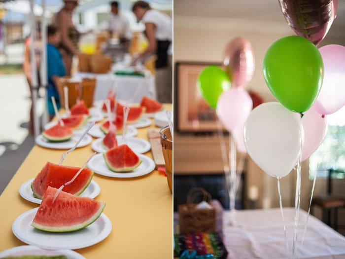 bright and cheerful birthday party photography diptych including plates of watermelon at a party on the left, and green and white balloons on the right