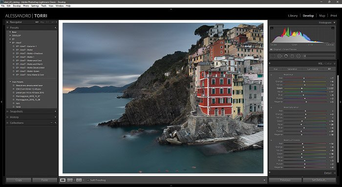 A screenshot of editing a photo of a coastal landscape in lightroom - how to use a color checker