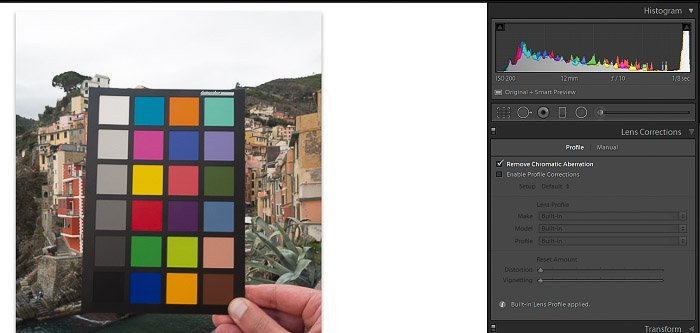 A screenshot of using a photo of a color checker for Lens Correction in Lightroom