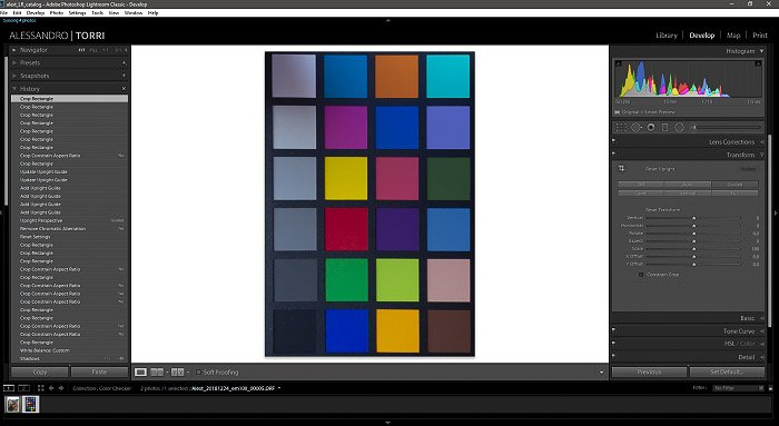 A screenshot of a cropped image of a color checker in Lightroom