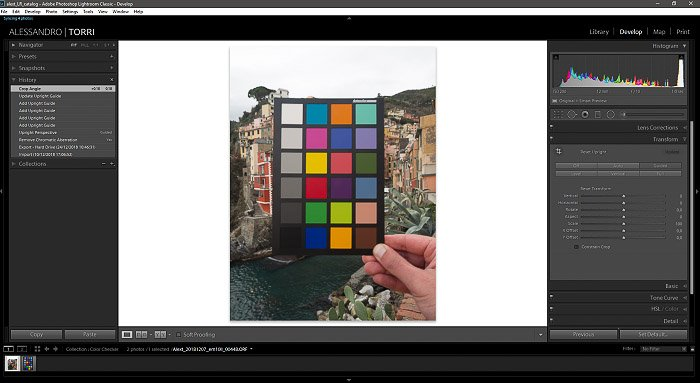 A screenshot of importing the photo of a color checker into Lightroom