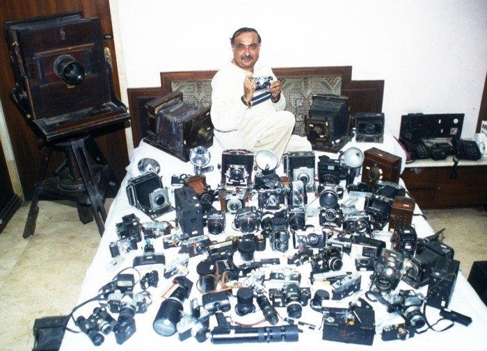 Dilish Parekh with his camera collection