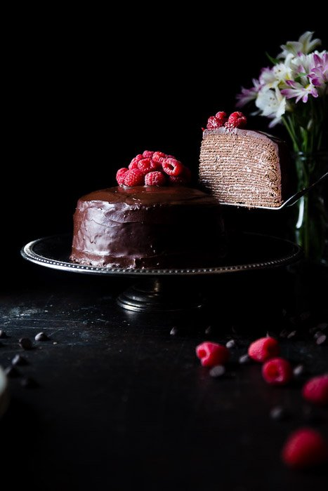 Dark and moody food portrait of a chocolate cake