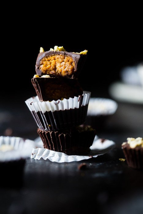 Delicious chocolate muffins against a dark background - food photography examples