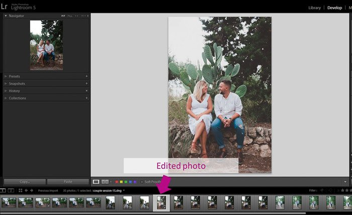 A screenshot showing how to use the Synchronisation Option to batch edit photos