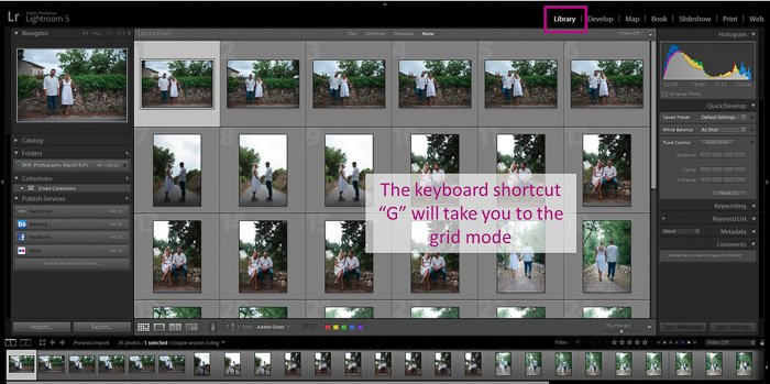A screenshot showing how to apply Lightroom presets using the Library module