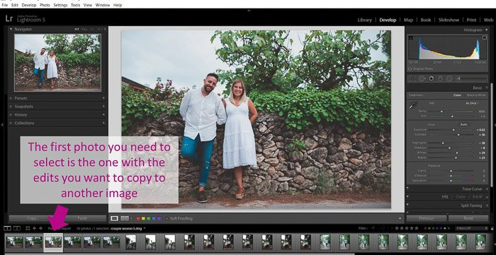 A screenshot showing how to batch edit - select first photo