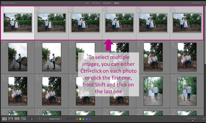 A screenshot showing how to select multiple images for batch editing in lightroom