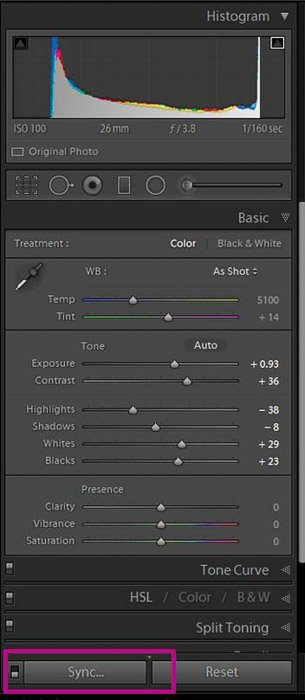 A screenshot showing how to use sync settings