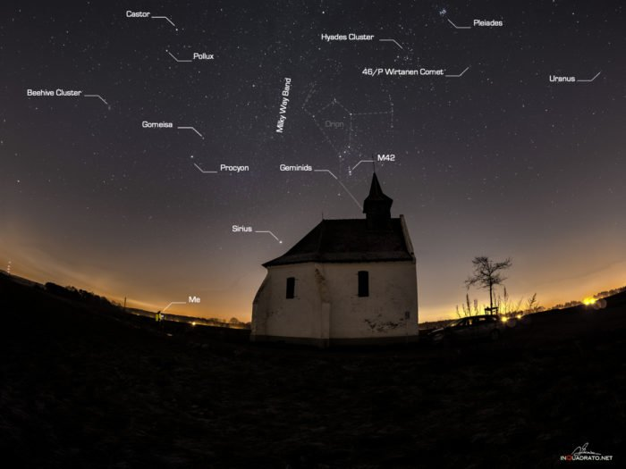 A small chapel near the Belgian town of Busval make the perfect foreground for a fisheye astrophotography.