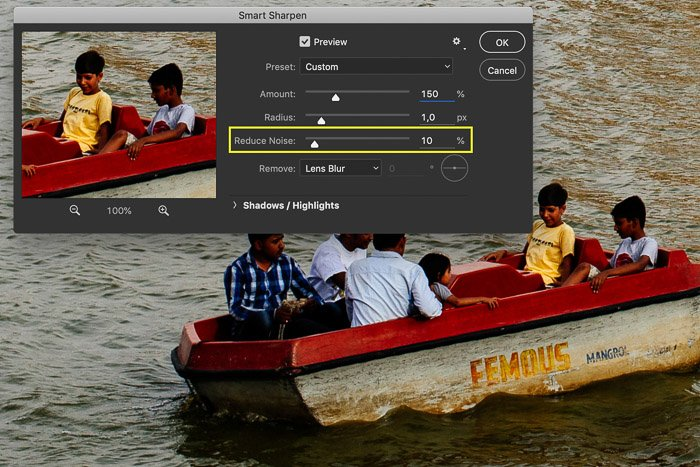 Screenshot of editing an image in Photoshop showing a row boat in India.