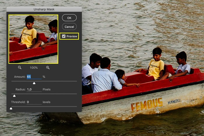 A screenshot showing how to use an unsharp mask in Photoshop