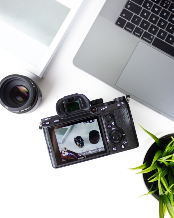 A digital camera, lens, laptop and plant on a white table - guide to different photo file types