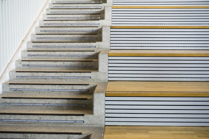 Two different style of staircases side by side - different photo file types