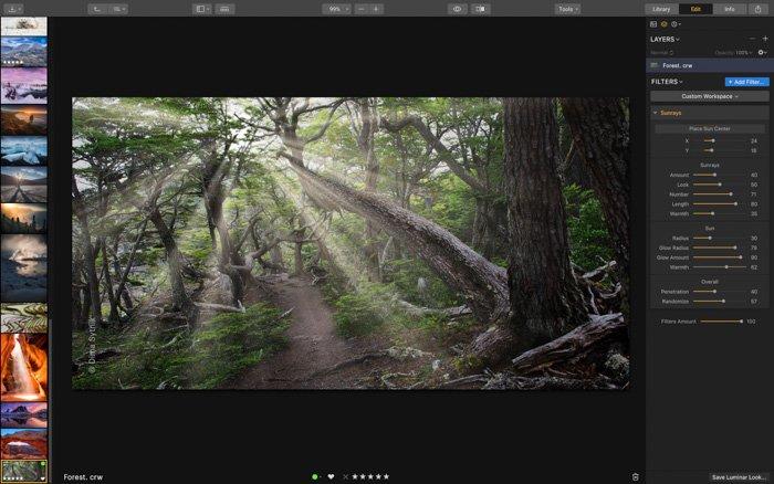 A screenshot of editing photos in Skylum Luminar 3