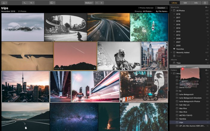 A screenshot of using the library in Luminar 3 photo editing software