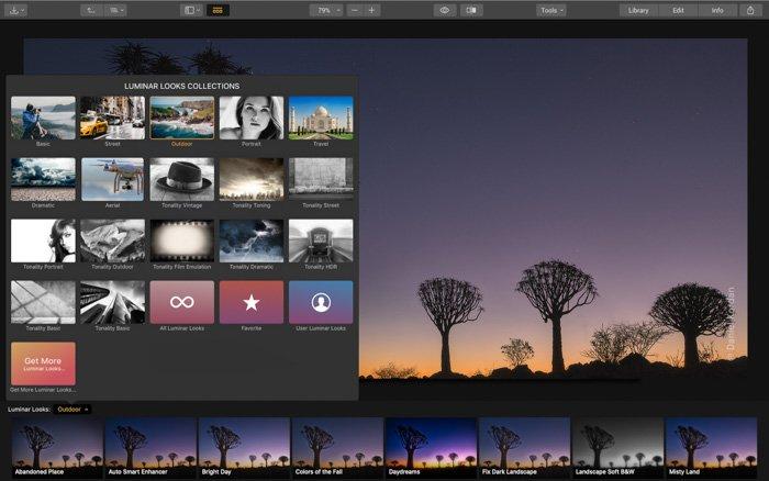 A screenshot of selecting from the Luminar looks collection menu - Skylum Luminar 3 review
