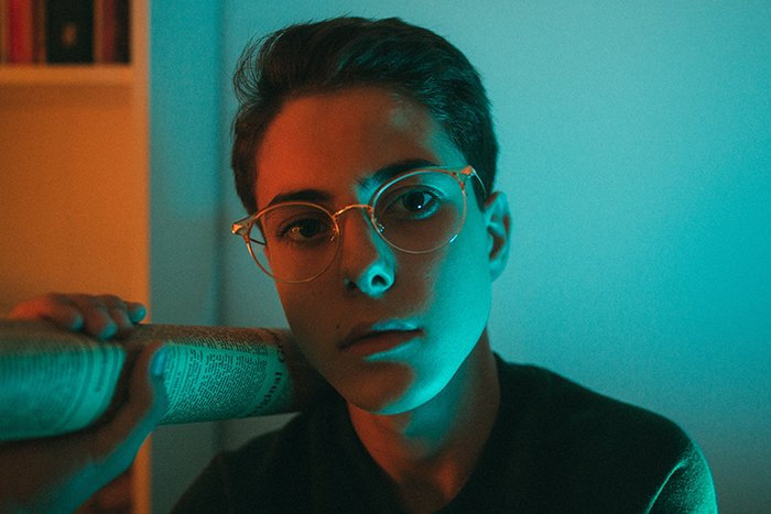 Atmospheric portrait shot using neon photography