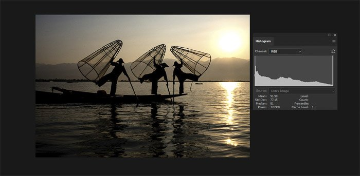 Screenshot of a well exposed image of fishermen beside the histogram