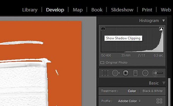 A screenshot of correcting exposure in the develop module in lightroom