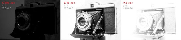 A triptych of an old film camera demonstrating underexposure, correct exposure, and overexposure in photography