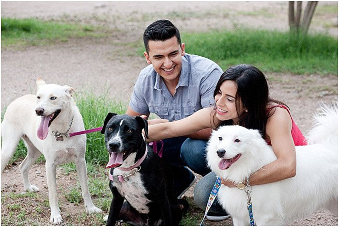 A relaxed and natural portrait of a couple posing outdoors with three dogs - people photography