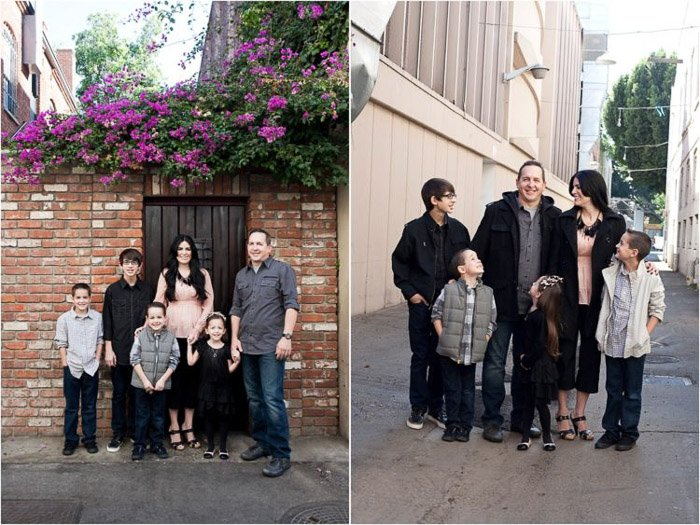 Diptych family portrait of a family of five posing outdoors - taking good pictures of people