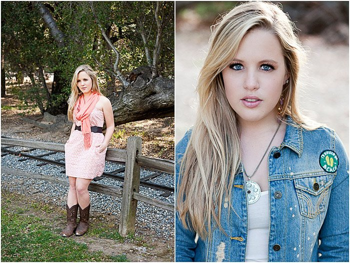 Stylish diptych portrait of a young female model posing outdoors - how to photograph people