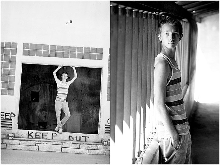 Atmospheric black and white diptych of a young male model posing in an urban setting - take better photos of people
