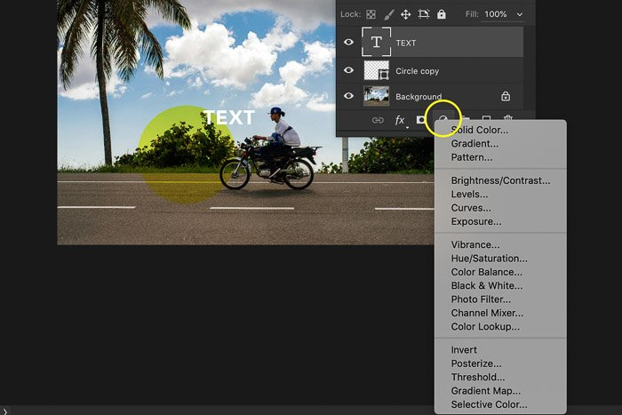 A screenshot of using the Photoshop layers panel - adjustment layer